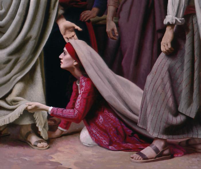 De zieke vrouw raakt de mantel van Jezus aan