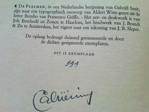 Gesigneerd exemplaar van Smits psalmberijming