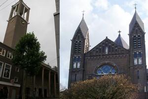 De Petrus Canisiuskerk in de Molenstraat (links) en de Titus Brandsma Gedachteniskerk - voorheen Sint-Jozefkerk - aan het Keizer Karelplein in Nijmegen (rechts).