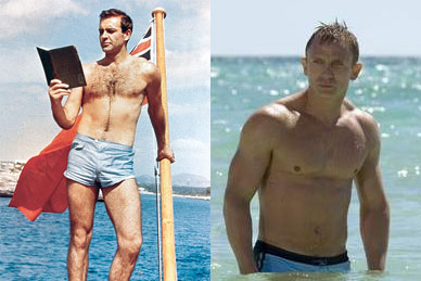 James Bond voor en na een 8-daagse Spieren-in-een-Flesje-kuur.