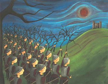 Scène uit Macbeth: Het bos van Birnam 'komt tot leven'.