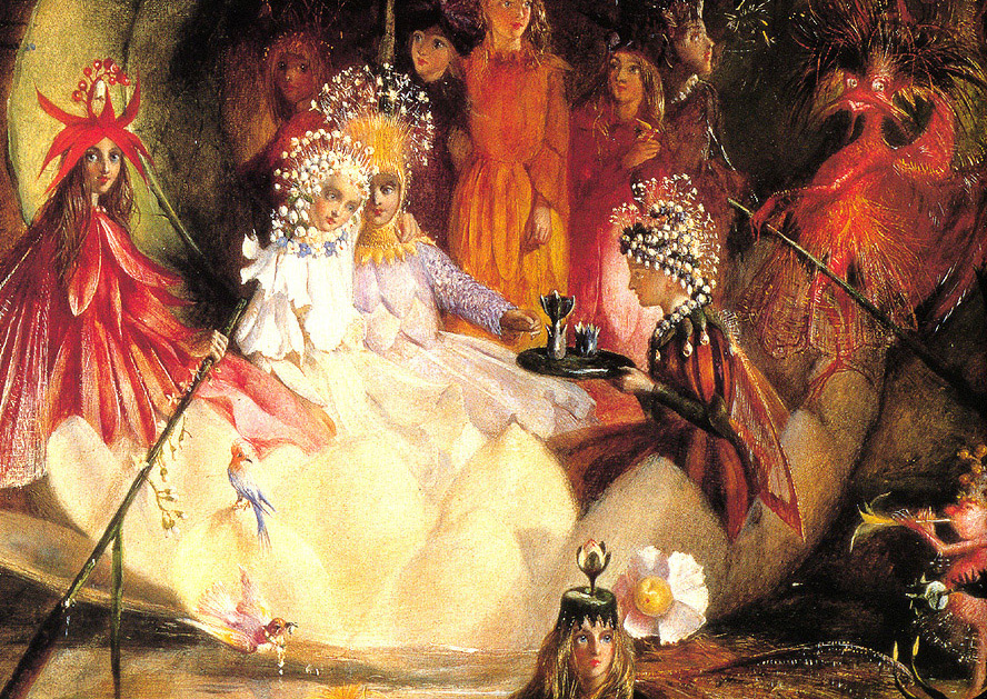 Een sprookjeshuwelijk. (Tussen Oberon en Titania in dit geval, geschilderd door John Anster Fitzgerald.)