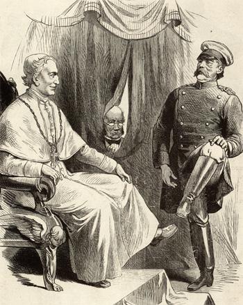 De patstelling van de Kulturkampf, verbeeld in een spotprent uit 1878: Paus Leo XIII en Otto von Bismarck nodigen elkaar uit om de schoenen te kussen. (Dit begroetingsgebaar was gebruikelijk bij pausen tot het werd afgeschaft door paus Paulus VI.)